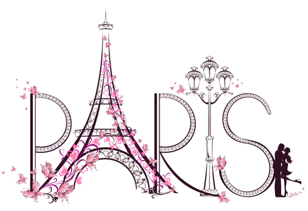 Illustration pour Tower Eiffel with Paris lettering illustration - image libre de droit