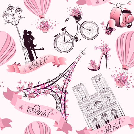 Ilustración de Paris symbols seamless pattern  Romantic travel in Paris  - Imagen libre de derechos
