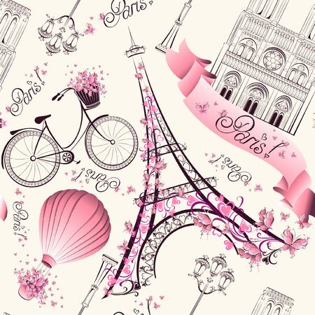 Photo pour Paris symbols seamless pattern. Romantic travel in Paris. Vector  - image libre de droit