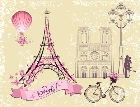 Illustration pour Paris symbols and landmarks. Romantic postcard from Paris. Vector set - image libre de droit