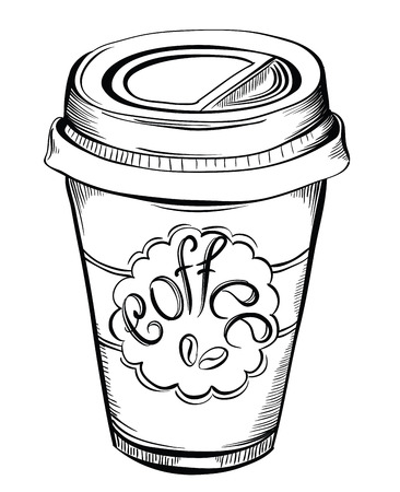 Ilustración de Hot Coffee Disposable to go Cup with lids and Label with coffee beans and text isolated on a white.  Hand drawn illustrations - Imagen libre de derechos