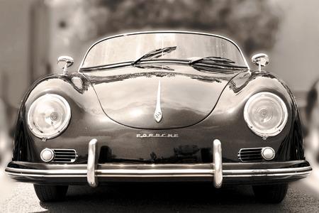 Photo pour NICE, FRANCE - JUNE 3, 2015: Porsche- luxury vintage sports car at the city street. Retro  style - sepia - image libre de droit