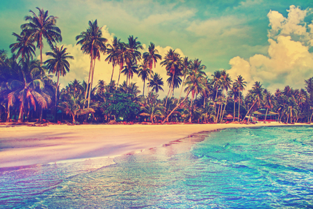 Photo pour Paradise nature, sea and hotel house on the tropical beach. - image libre de droit