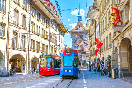 Photo for Streets with shopping area and Zytglogge astronomical clock tower in the historic old medieval city centre of Bern, Switzerland - Royalty Free Image