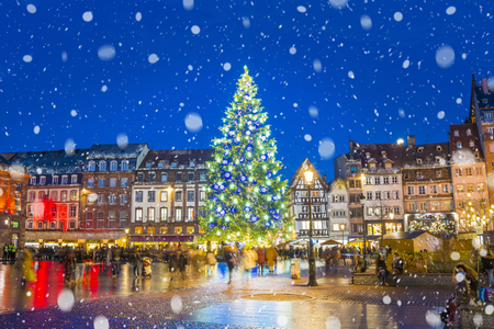 Photo for Christmas tree and xmas market at Kleber Square at night  in medieval city of Strasbourg - capital of Noel, Alsace, France. - Royalty Free Image