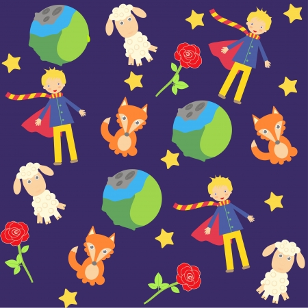 Illustration for seamless background with The little prince characters - Royalty Free Image