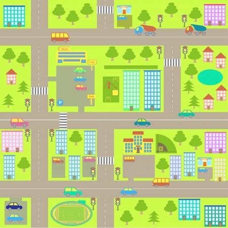 Illustration pour vector cartoon seamless city map - image libre de droit