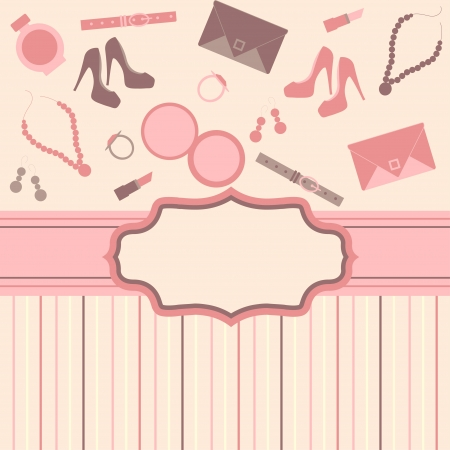 Illustration for fashion card  background with girl stuff - Royalty Free Image