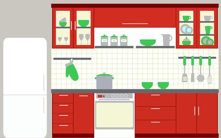 Illustration pour Illustration of kitchen with kitchen furniture - image libre de droit