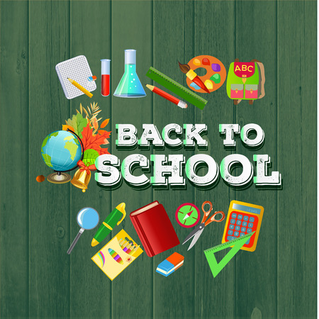Illustration pour Back to school sign with school supplies.The set of school icons on the wood background. - image libre de droit
