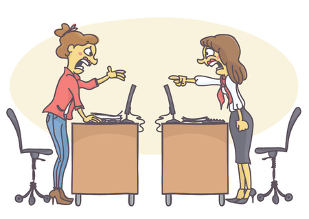 Illustration pour Two woman coworkers arguing in the office. Vector cartoon of colleagues at work screaming and yelling at each other, having a conflict. Bad behavior at work. - image libre de droit