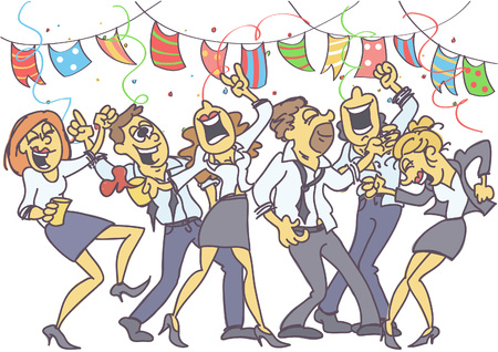 Ilustración de Office party with coworkers dancing, singing and celebrating. - Imagen libre de derechos
