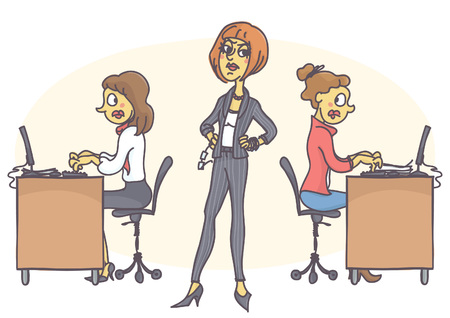 Illustrazione per Female manager standing in determined pose, strictly looking around, scared workers working and typing all in stress. - Immagini Royalty Free