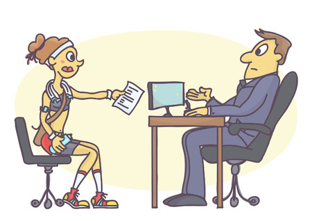 Illustration pour Funny vector cartoon of young woman dressed inappropriate for job interview. Intern girl talking to personnel manager in sportswear. - image libre de droit
