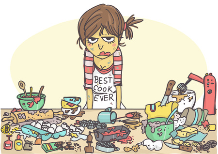 Ilustración de Angry, stressed woman making a cake at the messy table full with pastries items and ingredients - Imagen libre de derechos
