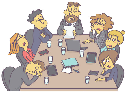 Ilustración de Exhausting business meeting with sleepy employees and boring manager or boss. - Imagen libre de derechos