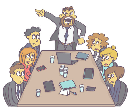 Illustration pour Business meeting with frightened employees and aggressive manager or boss. - image libre de droit