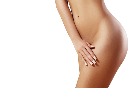 Photo pour Waxing for beautiful woman. Brazilian laser hair removal bikini line an sexy body shapes. Body care and clean skin. Sexy woman in spa - image libre de droit