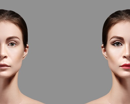 Beautiful Young Woman Before and After Makeup. Comparison Portrait of Two Parts of Face. Girl with and without Make-up.
