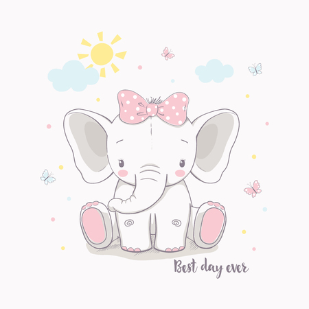 Ilustración de Little elephant girl. Vector illustration for kids. Use for print design, surface design, fashion kids wear, baby shower - Imagen libre de derechos
