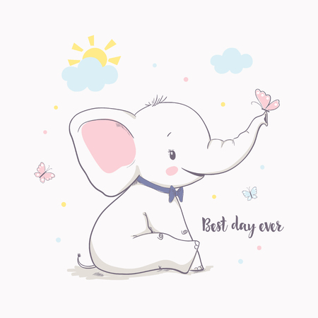 Ilustración de Little elephant with butterfly. Vector illustration for kids. Cartoon vector illustration for kids. Use for print design, surface design, fashion kids wear, baby shower - Imagen libre de derechos