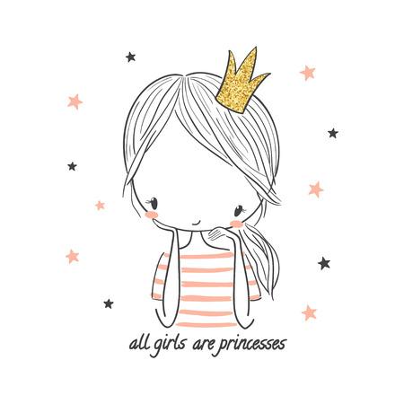 Illustrazione per Cute princess girl. Fashion illustration for kids clothing. Use for print design, surface design, fashion kids wear - Immagini Royalty Free