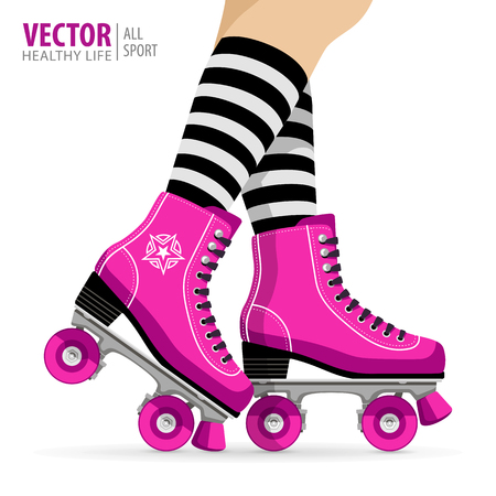 Ilustración de Roller girl. Quad skates classic. Roller skates. Sport background. Vector illustration. - Imagen libre de derechos