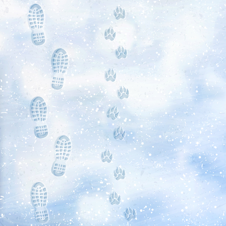 Ilustración de Human and dog footprints on surface white winter snow. Overhead view. Texture of snow surface. Vector illustration background. - Imagen libre de derechos