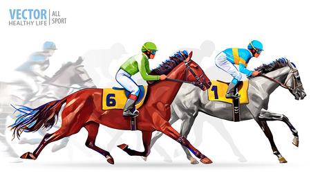 Ilustración de Five racing horses competing with each other, with motion blur to accent speed. Vector illustration - Imagen libre de derechos