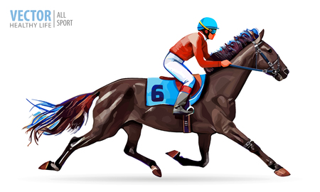 Ilustración de Jockey on horse. Champion. Horse racing. Hippodrome. Racetrack. Jump racetrack. Horse riding. Racing horse. Vector illustration. - Imagen libre de derechos