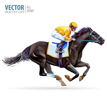 Ilustración de Jockey on racing horse. Champion. Hippodrome. Racetrack. Jump racetrack. Horse riding. Vector illustration. Derby. Isolated on white background - Imagen libre de derechos