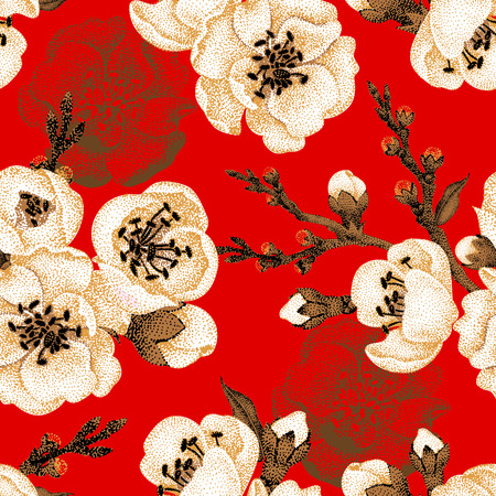 Illustration pour Sakura branch on red background. Vector seamless pattern. Floral design oriental style. Vintage. Black white red. Beautiful flowers of Oriental cherry tree gold foil printing. - image libre de droit