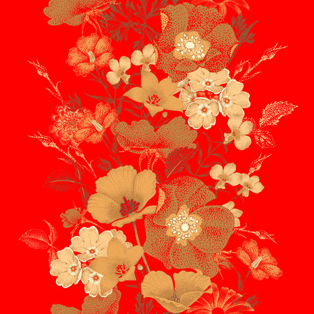 Ilustración de Seamless vector pattern of garden flowers in style of Chinese lacquer miniature. Flowers gold color on red background. Vintage. Design of flowers - oriental style. Flowers roses, bluebells, daisies. - Imagen libre de derechos