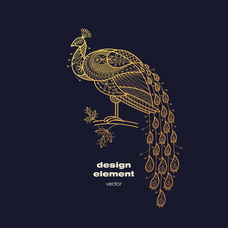 Illustration pour Vector design element - peacock. Icon decorative bird isolated on black background. Modern decorative illustration animal. Template for creating logo, emblem, sign, poster. Concept of gold foil print. - image libre de droit