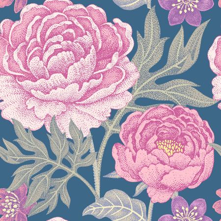 Ilustración de Floral seamless pattern for fabrics, textiles, wallpaper, paper. Vector. Garden flowers peonies. Design Victorian style. - Imagen libre de derechos
