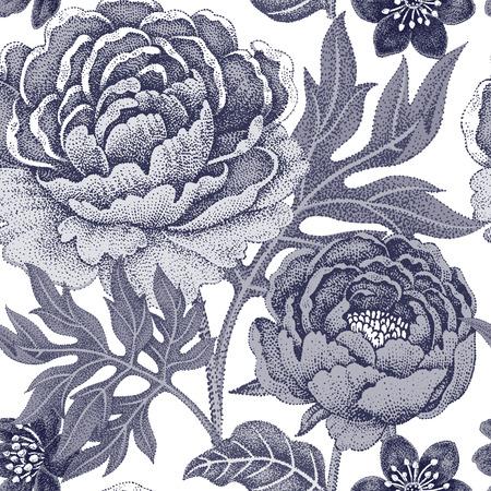 Illustration pour Floral seamless pattern for fabrics, textiles, wallpaper, paper. Vector. Garden flowers peonies. Design Victorian style. Black and white. - image libre de droit