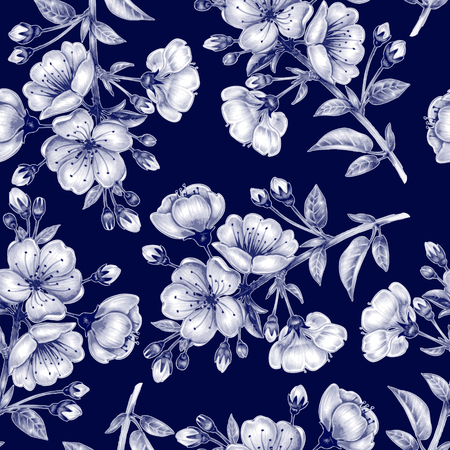 Ilustración de Vector seamless background. A branch of cherry blossoms. Design for fabrics, textiles, paper, wallpaper, web. Floral ornament. Black and white. - Imagen libre de derechos