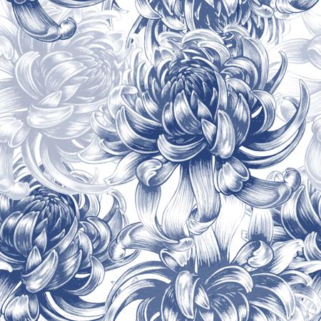 Illustration pour Vector seamless background. Chrysanthemum flowers. Design for fabrics, textiles, paper, wallpaper, Internet. Vintage. Floral ornament. Black and white. - image libre de droit
