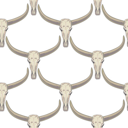 Illustration pour Vector background with the image of buffalo skulls. Seamless pattern. Black and white. - image libre de droit