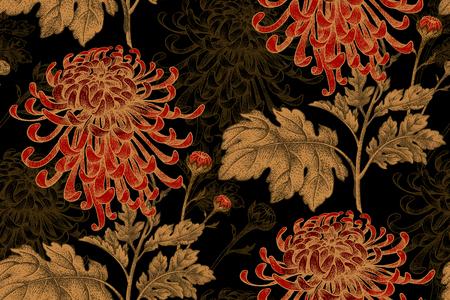 Illustration pour Vector seamless floral pattern. Japanese national flower chrysanthemum. Illustration luxury design, textiles, paper, wallpaper, curtains, blinds. Golden leaves, red flowers on black background. - image libre de droit