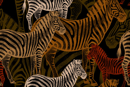 Illustration for Seamless vector pattern with African animals. Colored Zebra on a black background. Template to create fabric, Wallpaper, paper, textiles, curtains, design summer clothes in the style of Safari. - Royalty Free Image