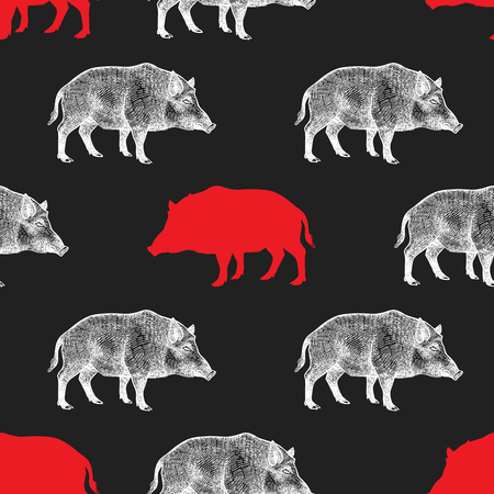 Illustration pour Boar Seamless pattern with drawing animals and silhouettes. Hand graphic of wildlife. Vector illustration art. Red, black, white. Old engraving. Vintage. Design for fabrics, paper, textiles, fashion - image libre de droit