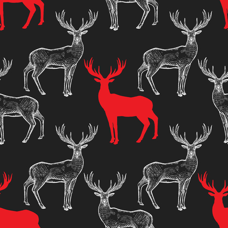 Ilustración de Deer Seamless pattern with drawing animals and silhouettes. Hand graphic of wildlife. Vector illustration art. Red, black, white. Old engraving. Vintage. Design for fabrics, paper, textiles, fashion - Imagen libre de derechos
