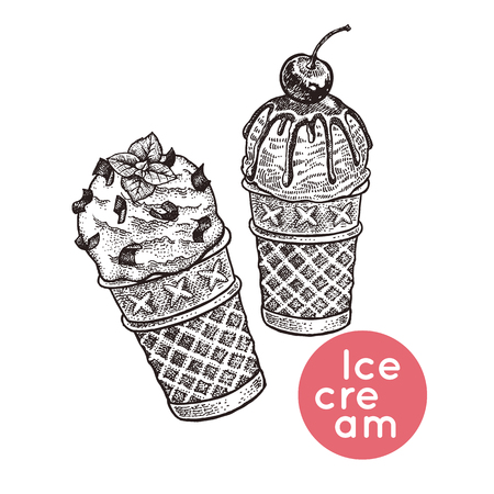 Illustration pour Waffle cones with ice cream. Isolated dessert with pieces of chocolate, icing, cherry berry. Black, white. Vintage engraving. Vector illustration. Realistic hand drawing for menu of cafes, restaurants - image libre de droit
