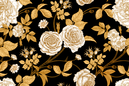 Ilustración de Roses, flowers, leaves, branches and berries of dog rose. Floral vintage seamless pattern. Gold, lack and white. Oriental style. Vector illustration art. For design textiles, paper, wallpaper. - Imagen libre de derechos