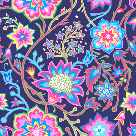 Ilustración de Seamless vintage background. Vector background for textile design. Wallpaper, background, web design. Floral pattern. - Imagen libre de derechos