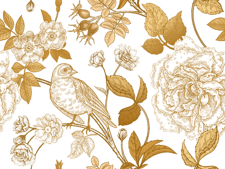 Illustration for Garden flowers roses, peonies and dog rose, bird on branches . Floral vintage seamless pattern. Gold and white. - Royalty Free Image