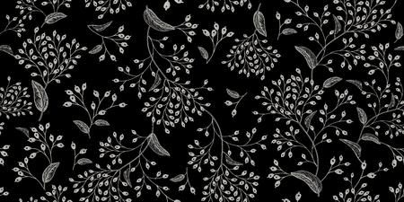 Ilustración de White branches and berries on black background vintage pattern design - Imagen libre de derechos