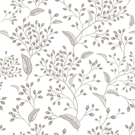 Illustration for Black branches and berries on white background vintage pattern design - Royalty Free Image