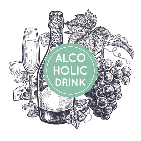 Ilustración de Alcoholic beverage and snack. Decoration with bottles of champagne, grapes, glass with drink, ice slices, cheese, mint and lemon.Vintage hand drawing.  Black on white background. Vector illustration. - Imagen libre de derechos